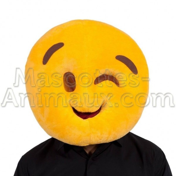 buy cheap smiley wink head mascot costume. Fancy smiley wink head mascot costume. Discount smiley head mascot.
