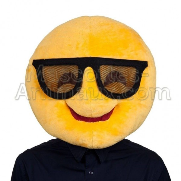 buy cheap smiley with glasses mascot head costume. Fancy smiley mascot head costume. Discount smiley mascot head.